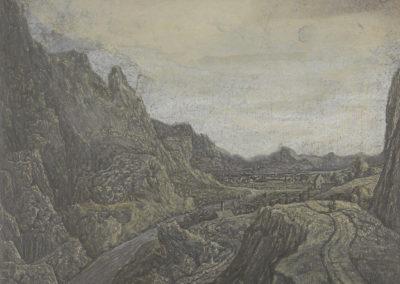 Rotsachtig landschap met wegen en een rivier (ca 1623), lijnets met plaattoon en hooglichten, collectie Rijksmuseum Amsterdam