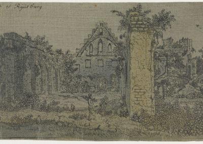 Ruïne van de abdij van Rijnsburg (ca 1620), lijnets, gedrukt in zwart op linnen geprepareerd met een loodhoudende, grijze grondering, collectie Rijksmuseum Amsterdam